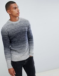 Jack And Jones Originals Knitted Jumper With Mixed Yarn Fade Total Eclipse Navy