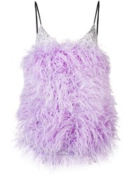 Attico Feathers Mini Dress Purple