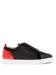 Christian Louboutin Rantulow Crystal Embellished Leather Trainers Black