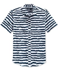 American Rag Men's Wavy Striped Short Sleeve Shirt Only At Macy's Bright White