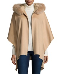Neiman Marcus Cashmere Collection Zip Front Cashmere Poncho W Fur Trim