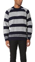 White Mountaineering Herringbone Pattern Round Neck Knit Sweater Navy