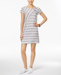 G.H. Bass And Co. Patchwork Striped T Shirt Dress Grey Multi