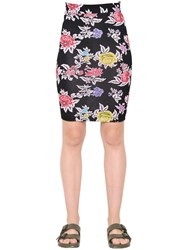 House Of Holland Rose Printed Viscose Jersey Pencil Skirt Array 0X5ac8200