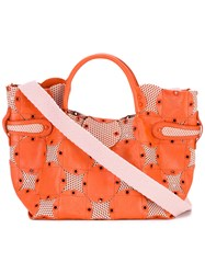 Jamin Puech Grommet Embellished Tote Women Cotton Leather Polyester One Size Yellow Orange