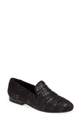 Cb Made In Italy Woven Smoking Loafer Women Black
