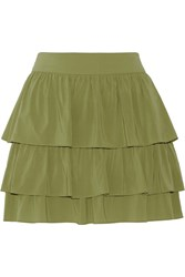 Alice Olivia Reina Tiered Stretch Silk Mini Skirt Green