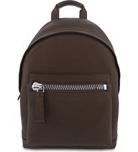 Tom Ford Buckly Leather Backpack Military Brown Gold