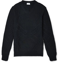 Brioni Slim Fit Cable Knit Cashmere And Silk Blend Sweater Black