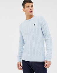 Abercrombie And Fitch Icon Logo Cable Knit Jumper In Light Blue