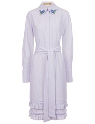 Flow The Label White And Blue Stripe Embroidered Collar Dress Striped