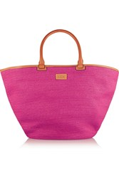 Emilio Pucci Leather Trimmed Straw Tote Pink