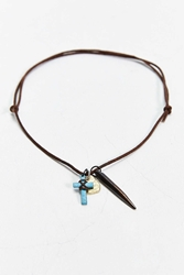 Urban Outfitters Leather Charm Necklace Brown