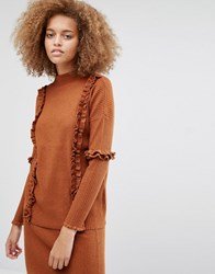 Warehouse Ruffle Detail Jumper Co Ord Spice Copper