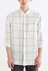 Your Neighbors 3 4 Sleeve Windowpane Linen Button Down Shirt White