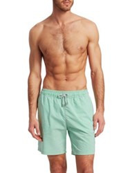 Saks Fifth Avenue Collection Seersucker Striped Swim Trunks Green