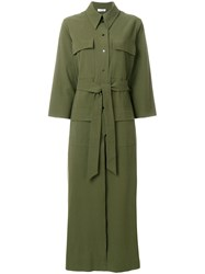 Attico Maxi Trench Coat Green