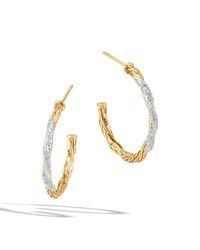 Small Classic Chain Diamond Hoop Earrings John Hardy Blue