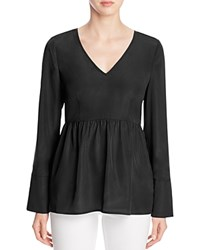 Finity Long Sleeve Peplum Top Black