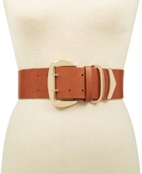 Inc International Concepts Oversized Buckle Stretch Belt Created For Macy's Tan