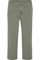 J Brand Parker Cropped Cotton Straight Leg Pants Green