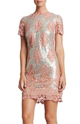 Dress The Population Women's Sequin Lace Minidress Pink Matte Silver