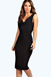 Boohoo Slinky Cowl Front And Back Bodycon Dress Black