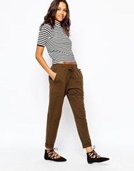 People Tree Jersey Trousers With Drawstring Khaki