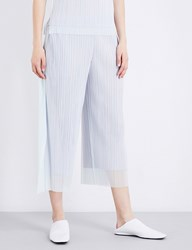 Issey Miyake Wide Leg Cropped Pleated Tulle Trousers Light Grey
