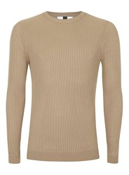 Topman Camel Ribbed Muscle Fit Sweater