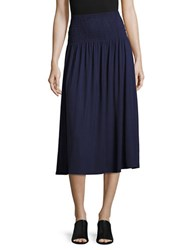 Lord And Taylor Smocked Convertible Skirt Blue