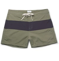 Saturdays Surf Nyc Grant Short Length Two Tone Faille Swim Shorts Green