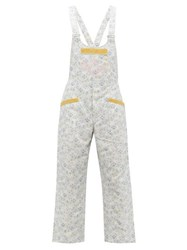 Gucci Tennis Logo And Floral Print Cotton Dungarees Blue Multi