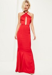 Missguided Red Plunge Halterneck Fishtail Maxi Dress
