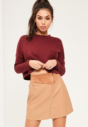 Missguided Tan Faux Leather Zip Detail A Line Skirt