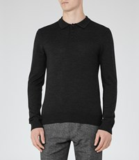 Reiss Mansion Mens Merino Polo Shirt In Grey
