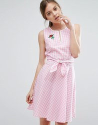Trollied Dolly Gingham Skater Dress With Tie Waist And Rose Badge Pink