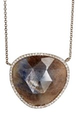 Monique Pean Women's Sapphire Slice Pendant Necklace Blue