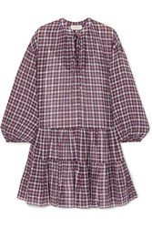 The Great Timber Ruffled Checked Cotton Dress Navy