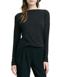Vince Boat Neck Long Sleeve Tee Black