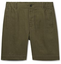 Incotex Slim Fit Linen Shorts Green