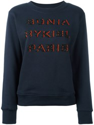 Sonia Rykiel Beaded Logo Sweatshirt Blue
