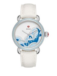 Michele Seaside Blue Fish Diamond Topaz Stainless Steel And Lizard Strap Watch Ivory Blue