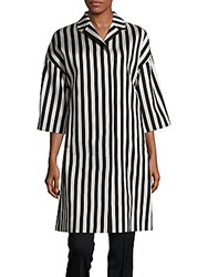 Dolce And Gabbana Striped Cotton Blend Jacket Black White