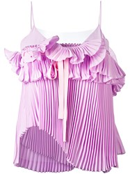 Rochas Pleated Ruffled Cami Women Silk Polyamide 42 Pink Purple