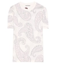 Acne Studios Taline Paisley Printed Cotton T Shirt White