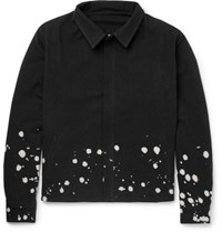 The Elder Statesman Bleach Splattered Cotton Canvas Jacket Black