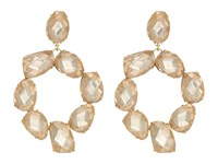 Tory Burch Stone Abstract Wreath Earrings Pink Blossom Vintage Gold