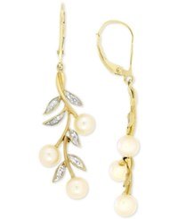 Macy's Cultured Freshwater Pearl 5Mm And Diamond Accent Drop Earrings In 14K Gold White