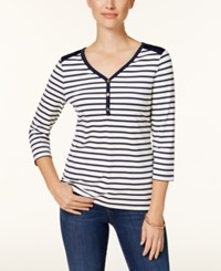 Charter Club Petite Striped 3 4 Sleeve Top Created For Macy's Intrpd Blue Cmb